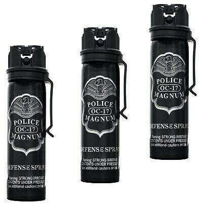 3 pack Police Magnum 4oz pepper spray Flip Top Belt Clip Self Defense Protection