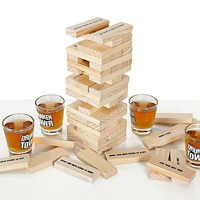Adult Drunken Tower Drinking Party Game with 4 Shot Glasses & 60 Wooden Blocks