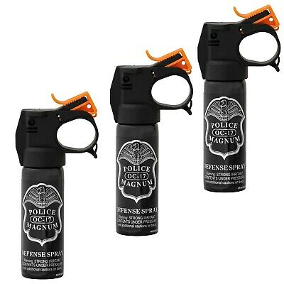 3 PACK POLICE MAGNUM pepper spray 3oz Fire Master Fog Home Auto Office Security