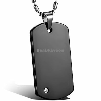 Engravable Tungsten Carbide Army Style Mens Dog Tag Pendant Necklace w Chain