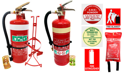 Fire Extinguisher Kitchen Combo 2L Wet Chemical 2.5 Dry Powder 1x1 Fire Blanket