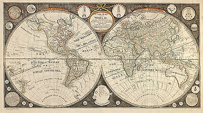 Old, Vintage Poster Map of the World in 1799 reprint