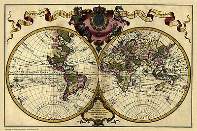 Old, Vintage Poster Map of the World in 1720 repro