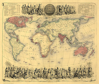 Old, Vintage Poster Map of the British Empire in1855 repro