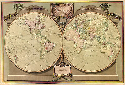 Old, Vintage Poster Map of the World in 1808 repro.