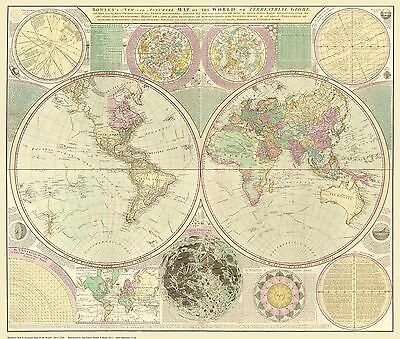 Old, Vintage Poster Map of the World 1780 repro