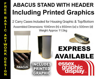 Exhibition Promotion Portable Counter With Printed Graphics & Header Display