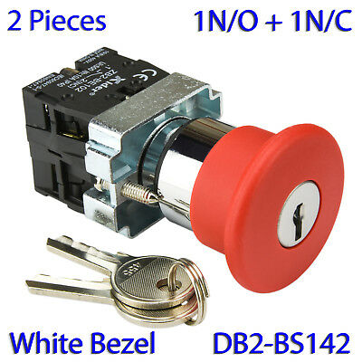 (2 PCs) XB2-BS142-W Key Reset 1N/O & 1N/C Emergency Stop Mushroom Switch