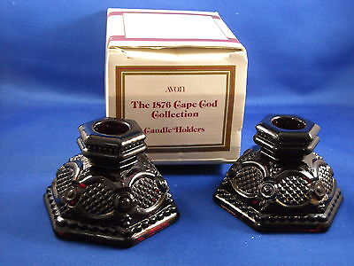 AVON RUBY RED 1876 CAPE COD SET OF 2 SHORT CANDLESTICK S       1983-1984