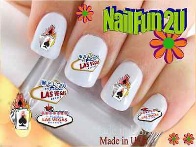 "Nail Art #604 IMAGE ""Welcome to LV #2 Ace"" WaterSlide Nail Decals Transfers"