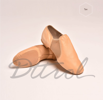 Quality Soft Leather Slip on Leather Upper Jazz Shoes beige (Tan)