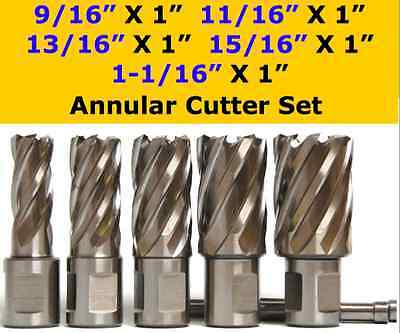 "5 pcs HSS Annular Cutter Set, 3/4"" Shank Magnetic Drill Set W/PIN,01"