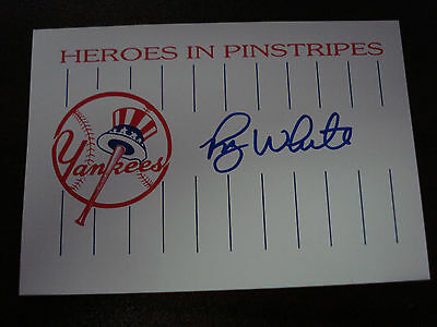 Roy White Autograph Heroes In Pinstripes Signed Card VINTAGE AUTO NY Yankees