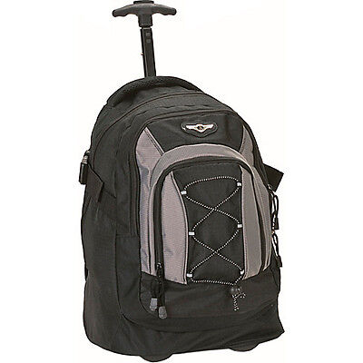 """Rockland Luggage Sprint 19"""" Rolling Backpack - Black Wheeled Backpack NEW"""