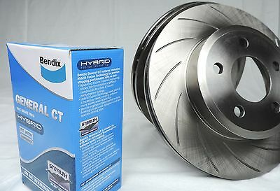Slotted Pair Rear Disc Brake Rotors & Bendix Pads Commodore Vt Vu Vx Vy Vz New
