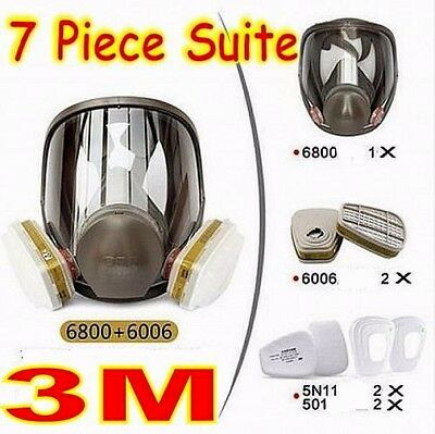 3M 6800+6006 7piece Suit Respirator Fully Facepiece for Multi Gas/Vapor Mask New