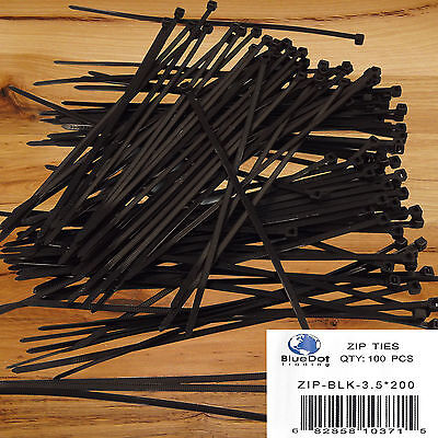 "100 Pack Lot Pcs - 8"" Inch BLACK UV Resistant Nylon Cable Zip Wire Tie 40 lbs"