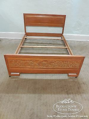 Jamestown Lounge British Oak Carved Full Size Bed
