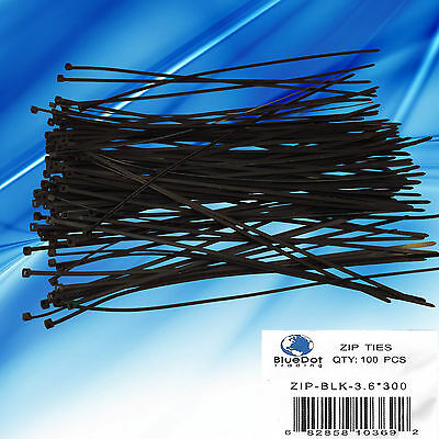 """100 Pack Lot Pcs - 12"""" Inch UV Resistant Nylon Cable Zip Wire Tie BLACK - 40 lbs"""