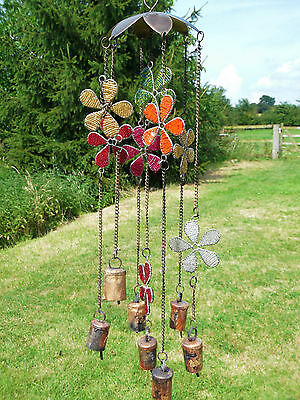 Large Flower Bells & Beads Windchime Wind Chime Mobile Hanging Garden Decoration
