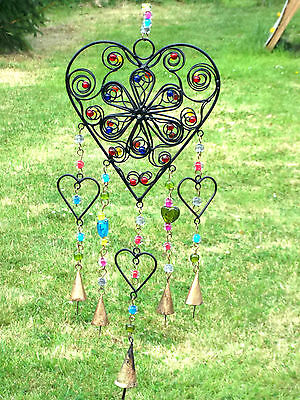 New Heart Bells And Beads Windchime Wind Chime Mobile Hanging Garden Decoration