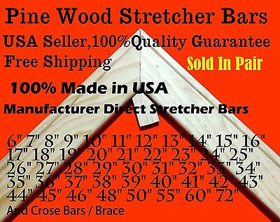 Pair of  Canvas Stretcher Bars Strips 6 ,8,10,12,14,16,18,20,24,30,36,48,60,72""