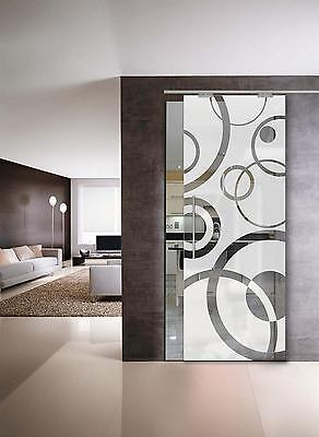 "Glass Sliding Door  "" Circles "" Glass 8 mm (640 x 2050 ) with Pull Bar T handles"