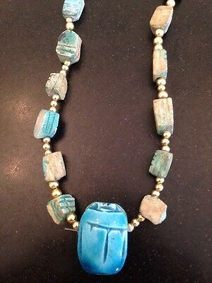 EGYPTIAN SCARAB BEETLE TURQUOISE Clay Stone GOLD Tone BEADS NECKLACE Vintage