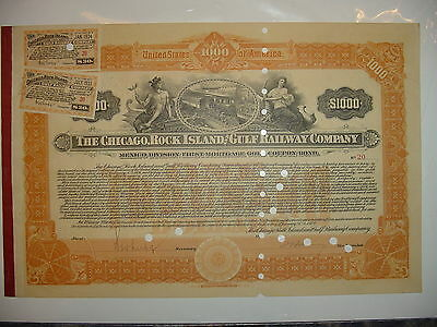 Chicago Rock Island & Gulf Railway Company Bond Stock Certificate Pacific