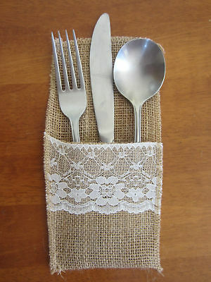 Hessian Cutlery Holder Pouch Burlap Lace Wedding Rustic Decorations Favours