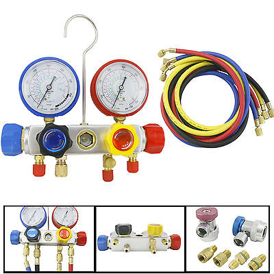 "4 Way AC Manifold Gauge Set R410a R22 R134a w/ 60"" Hoses+ Coupler Adapters New"
