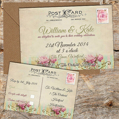 Pretty Postcard Wedding Invitations With Rsvp 10, 50 Or 100