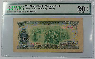 1966 South Vietnam National Bank 50 Dong Note Pick# 44a PMG 20 Very Fine Details