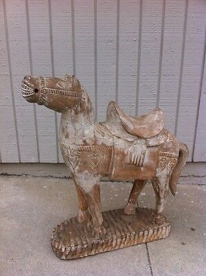 Vintage Chinesse Carved WOODEN HORSE  Painted Primitave Asian