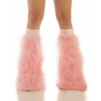 Baby Pink Rave Boot Cover Leg Warmer Fluffies w/ Baby Pink Knee-bands Halloween