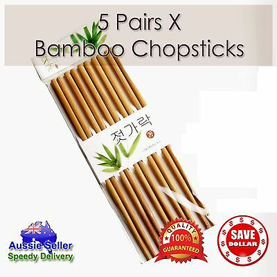 5 Pairs High Quality Classic Asian Bamboo Chopsticks Wooden Wood Dinner Gift