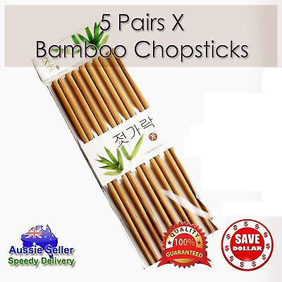 New 5 Pairs High Quality Classic Asian Bamboo Chopsticks Wooden Dinner Gift