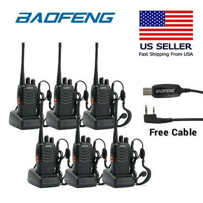 6Pcs Baofeng BF-888S 400-470MHz 5W CTCSS Two-way Ham Radio Walkie Talkie + Cable