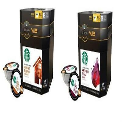 32 Count Starbucks House Blend & French Roast Coffee Vue Cup For Keurig Brewers