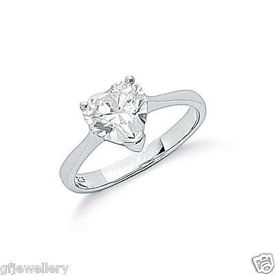 Rhodium Plated Solid 925 Hallmarked Sterling Silver Heart Cut Solitaire Ring