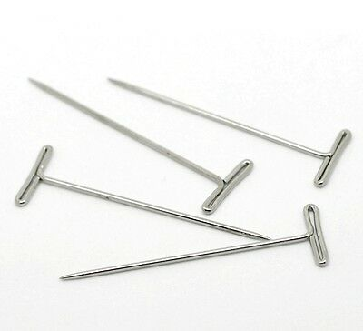 Silver Metal T Pins 50Mm Modelling Crafts Sewing Macrame Wigs Diy