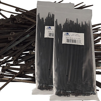 New Black 200 Pcs. 7 Inch Zip Ties Nylon 50 Lbs Uv Weather Resistant Wire Cable