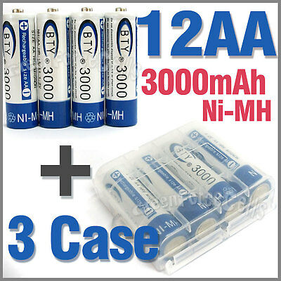 3 x Case + 12 AA Ni-MH 3000mAh rechargeable battery BTY