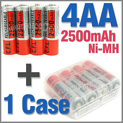 1 x Case + 4 AA Ni-MH 2500mAh rechargeable battery CFL