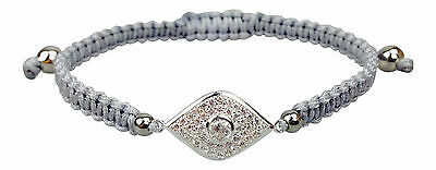 Evil Eye Silver Plated Protection Bracelet with Czech Crystals - High Quality