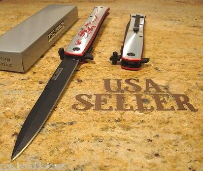 """TAC-Force knife 11"""" Extra large assisted stiletto Red Dragon folding knife new"""