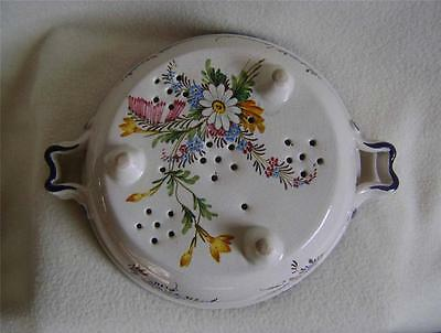 Vintage Faience / Delft Salad Drainer Bowl with hand painted floral decoration