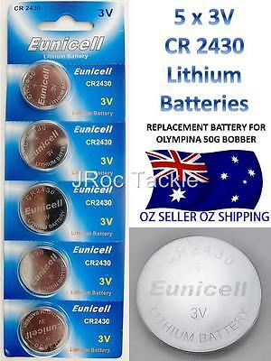 5 EUNICELL CR 2430 3V LITHIUM BATTERY 275mAh Replacement Olympina 50g Bobbers