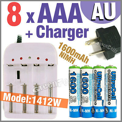 8 x AAA 1600mAh Ni-MH battery Blue + AA Alkaline NiCd rechargeable Charger AU