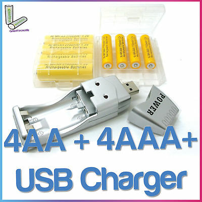 4 AA + 4 AAA Rechargeable Battery  USB Charger  2 Case